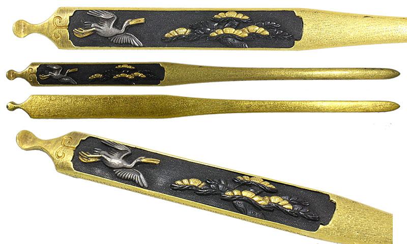 日本刀の笄・松鶴(京金工)|日本刀・刀剣販売専門店・東京【十拳】